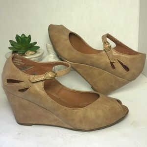 MADELINE Nude Peep Toe Shoes